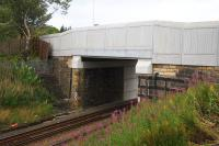 The new overbridge at Benhar Road in Shotts - one of 17 structures being replaced as part of the pre-electrification work. <br><br>[Colin McDonald&nbsp;31/08/2016]