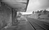 From my first visit to Waterside in 1973.  The closed station, still with canopy, with evidence of track rationalisation.<br><br>[Bill Roberton&nbsp;//1973]