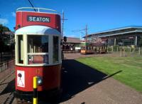 Trams empty and full at the seaside terminus. Getting from here to the beach was easy, but the return required coercion! Notice the well stocked station shop to the right.<br><br>[Ken Strachan&nbsp;26/08/2016]