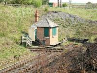 The flat crossing and box at Marley Hill on 9 May 2006. Running left to right across the picture is the Tanfield Railway, while the truncated line once formed part of the Bowes Railway.<br><br>[John Furnevel&nbsp;09/05/2006]