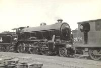 Locomotives in the shed yard at Eastfield on 21 June 1955 include Gresley K2 2-6-0 61789 <I>Loch Laidon</I> and Worsdell J72 0-6-0T 68709.<br><br>[G H Robin collection by courtesy of the Mitchell Library, Glasgow&nbsp;21/06/1955]