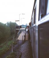 Approaching the very short platform at Dilton Marsh in May 1985 with a passenger alighting from the train whilst it was still in motion. In fact his feet were still dangling above the platform ramp and he was very lucky not to have injured himself or the other person on the platform. <br><br>[John McIntyre&nbsp;/05/1985]