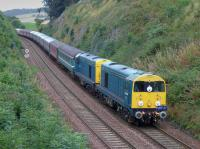The 'GBRf 15' tour from Edinburgh to Inverness and return nears Aberdour hauled by Harry Needle 20096 and 20107, with Colas 47739 on the rear.<br><br>[Bill Roberton&nbsp;10/09/2016]