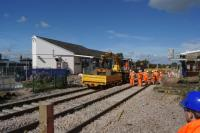 Weekend reconstruction work on Chorley station is continuing with both lines now relaid and the down platform face still being rebuilt. On 11 September 2016 it was also noticed that the up platform (on the right) has been worked on and now has a temporary surface following the track replacement.<br><br>[John McIntyre&nbsp;11/09/2016]