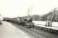 Platform scene at Cardross on a fine October day in 1957 as Gresley V1 2-6-2T 67623 arrives with a Glasgow bound stopping train. <br><br>[G H Robin collection by courtesy of the Mitchell Library, Glasgow&nbsp;26/10/1957]