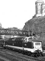 Deltic D9006 <I>The Fife and Forfar Yeomanry</I> photographed leaving Waverley in the 1960s at the head of 'The Flying Scotsman'.<br><br>[Dougie Squance (Courtesy Bruce McCartney)&nbsp;//]