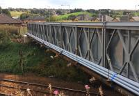 The temporary footbridge at Shotts station in place and bolted to its foundations on 18 September 2016. The plastic pipes incorporated in the structure will act as trunking to facilitate the diversion of services while the new bridge is built. <br><br>[Colin McDonald&nbsp;18/09/2016]