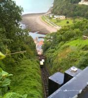 It's a long way down. Looking over the 45-degree inclined track from the upper town to the lower at Lynton, with two cars crossing.<br><br>[Ken Strachan&nbsp;28/08/2016]