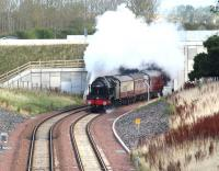 Ex-LMS 4-6-0 46100 <I>Royal Scot</I> emerging from below the Edinburgh City Bypass on 25 September 2016 with the 0946 Edinburgh Waverley - Tweedbank <I>'Borders Line Steam Special'</I>. The train is approaching the end of the double track section at Kings Gate points immediately below the camera. This was the last day of Sunday steam specials for the 2016 season. <br><br>[John Furnevel&nbsp;25/09/2016]