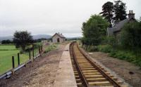 Looking along the platform at Broomhill towards Boat of Garten in August 1994 as the replica station building is being constructed and the track is being relaid.<br><br>[John McIntyre&nbsp;11/08/1994]