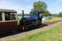 Dinorwic Hunslet <I>Holy War</I> runs through the tiny request halt at Pentrepiod without stopping on 17th September 2016. The train was heading from Llanuwchlynn to Bala alongside Bala Lake, which can be seen behind the train. <br><br>[Mark Bartlett&nbsp;17/09/2016]