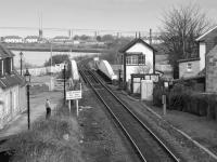 Looking east to the swing bridge and signalbox, Clachnaharry, with the Kessock Bridge in the background.<br><br>[Bill Roberton&nbsp;28/03/1988]