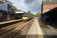 Knutsford station looking north-east on 25 September as a Northern service from Chester to Southport via Manchester calls at the station.<br><br>[John McIntyre&nbsp;25/09/2016]
