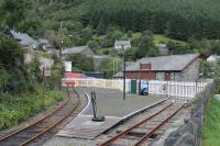 The Corris terminus of the short length of preserved railway from Maespoeth, seen in September 2016. There was originally a small passenger trainshed spanning the left hand line in pre-closure days. The line from Machynlleth originally continued beyond here to Aberllenfenni but the section above Corris was for goods only. The railway finally closed in 1948 with the first preserved trains running again in 2002.  <br><br>[Mark Bartlett&nbsp;19/09/2016]