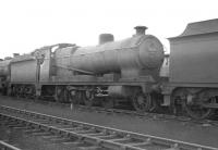 Robinson O4 2-8-0 63870 photographed in the shed yard at Mexborough in the 1960s.<br><br>[K A Gray&nbsp;//]