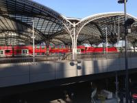 The wonderful architecture of Koln station with a striking double decked red train setting off this view.<br><br>[Veronica Clibbery&nbsp;25/09/2016]