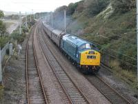 Class 40 No. 345 hauled an unadvertised excursion for the CFPS from Carnforth to Bury via Buxton on 300916. The gleaming blue machine is seen here passing Hest Bank on the first leg of the trip. <br><br>[Mark Bartlett&nbsp;30/09/2016]