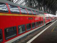 A Regio DB double decked train in striking bright red at Frankfurt.<br><br>[Veronica Clibbery&nbsp;25/09/2016]