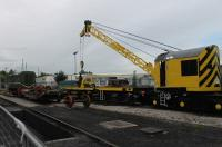 During the Ribble Steam 2016 Autumn diesel gala the resident self-propelled crane performed a couple of demonstration lifts of railway axles from a lowmac wagon outside the workshop and depot. <I>Dutch Class 11</I> NS663 can be seen in attendance.<br><br>[Mark Bartlett&nbsp;01/10/2016]