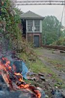 Last days of Milngavie signalbox in 1990. All the rubbish and various documents were disposed of. View looks south. Access by kind permission of British Rail.<br><br>[Ewan Crawford&nbsp;//1990]