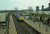 45108 northbound XP through the Midland station.<br><br>[Peter Todd&nbsp;28/04/1979]