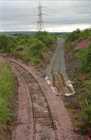The (then) new sidings for opencast coal being laid in at Stirling Road in 2000. The branch to Costain runs round to the left. Both are now closed.<br><br>[Ewan Crawford&nbsp;//2000]