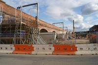Looking east along the south side of the viaduct from Ordsall Jct to Castlefield Jct on 08 October 2016 as the widening of the viaduct arches is taking place.<br><br>[John McIntyre&nbsp;08/10/2016]