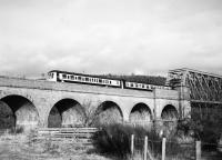 A west bound DMU crossing the River Spey Orton Bridge enroute to Elgin, 02 March 1979. Passing time 1506 hours.<br><br>[Peter Todd&nbsp;02/03/1979]