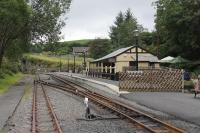 A view of the Vale of Rheidol Devils Bridge terminus looking towards the station throat from the buffer stops on 18th September 2016. <br><br>[Mark Bartlett&nbsp;18/09/2016]
