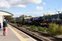 LMSR 6201 Princess Elizabeth: a visit to Andover station to see the Stanier Pacific pass though on 15 October. It arrived six minutes early, running with what appeared to be no effort at all. <br><br>[Peter Todd&nbsp;15/10/2016]