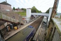 View east over Blairhill showing the recent changes to the station. The older stairway looks not long for this world.<br><br>[Alastair McLellan&nbsp;12/10/2016]