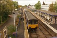 A Leeds to Morecambe service calls at Bentham on 16 October 2014. <br><br>[John McIntyre&nbsp;16/10/2014]