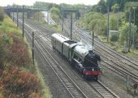After a short visit to the East Lancashire Railway, 60103 <I>Flying Scotsman</I> worked back to the NRM via a circuitous route on 18th October 2016. Seen here passing Farington Curve Junction the A3 ran via Castleton, Manchester, Golborne, Preston, Carnforth, Skipton and Leeds.<br><br>[Mark Bartlett&nbsp;18/10/2016]