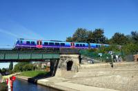 Train from Scarborough crossing the recently rebuilt bridge over the River Ouse. Taken from boat passing upriver.<br><br>[Colin Miller&nbsp;18/09/2016]