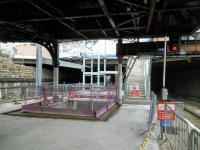 Ongoing work at the east end of Dundee station on 19/10/2016. The pit will be for an escalator, I expect, coming down from the currently skeletal booking hall.<br><br>[David Panton&nbsp;19/10/2016]