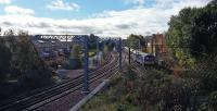Going round the curve from Anniesland northbound. On the left are the terminal platform line and the new connecting line.<br><br>[Rod Crawford&nbsp;18/10/2016]