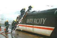 An InterCity 125 HST fire at Exeter - in the 1990s. [Ref query 10048]<br><br>[Ian Dinmore&nbsp;//]