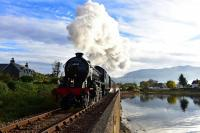 K1 No.62005 races away from Corpach with The Jacobite on a sunny<br> October morning.<br><br>[John Gray&nbsp;21/10/2016]