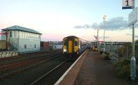 Arrival at Stranraer on an autumn afternoon in November 2016. The train is the 1412 ex-Glasgow Central.<br><br>[Andy Furnevel&nbsp;01/11/2016]