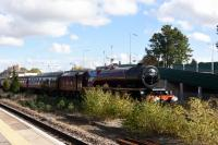 A visit to Andover station to see the Stanier 4-6-2, LMSR 6201 Princess Elizabeth, pass through. It was arrived six minutes early and running with what appeared to be no effort at all.<br><br>[Peter Todd&nbsp;15/10/2016]