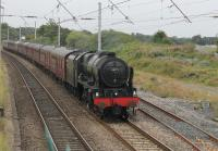 46115 <I>Scots Guardsman</I> rolls a <I>Cumbrian Mountain Express</I> excursion through Hest Bank on 20th August 2016. The loco had taken over the train at Preston and was running via Shap to Carlisle and returning via the Cumbrian Coast.
