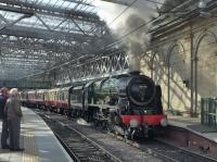 46100 ^Royal Scot^ leaves Waverley with the second Borders steam trip on 28 August.