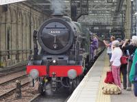 ^Royal Scot^ about to leave Waverley with the morning^s empty stock of the Borders steam excursion.
