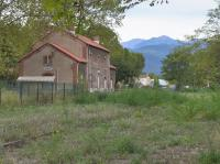 The abandoned station and yard at Ceret, present end of the line which formerly reached Arles sur Tech and which was closed by storm damage in 1939. 16 October.<br><br>[Bill Roberton&nbsp;16/10/2016]