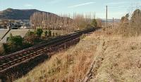 View to Bridge of Earn from an old loading bank at the former Abernethy station in 1996. The two platform station stretched away from the camera and goods yard was behind and to the right. [Ref query 75]<br><br>[Ewan Crawford&nbsp;//1996]