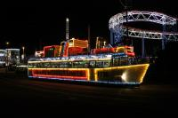 The stylish illuminated tram F736 <I>HMS Blackpool</I>, is modelled on the Royal Navy warship of the same name. It first ran in 1965, based on a 1928 <I>Pantograph</I> tram chassis. It was re-bodied in 2003 and is seen at the Pleasure Beach turning circle during the last week of the 2016 illuminations season. <br><br>[Mark Bartlett&nbsp;02/11/2016]