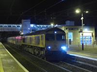 The Fort William - Euston Caledonian Sleeper calls at Dalmuir on 6 November hauled by 66733 and 72969.<br><br>[Bill Roberton&nbsp;06/11/2016]