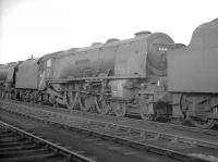 Withdrawn Stanier Pacific 46244 standing in Upperby yard on a grey October day in 1964 devoid of nameplates that once proclaimed its Royal identity as <I>King George VI</I>. The former LMS streamliner was broken up by Arnott Young in Troon during December that year. [See image 48141]<br><br>[K A Gray&nbsp;17/10/1964]
