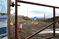 Works entrance to the site of the EGIP electric train depot at Millerhill on 6 November 2016 with construction activity halted for the weekend. View is south from Whitehill Road.  <br><br>[John Furnevel&nbsp;06/11/2016]