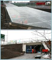 The new underpass running below the A8 which will provide a pedestrian link between the Gyle retail park and the new Edinburgh Gateway Interchange, photographed on 14 November 2016. Upper picture looking north towards the new station from the A8, with members of the project team visible below the glass roof heading into the underpass. Below is the south entrance seen from the Gyle Centre car park.  <br><br>[John Furnevel&nbsp;14/11/2016]